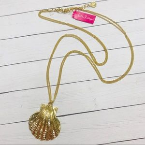 Lilly Pulitzer gold and diamond shell necklace NWT